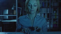 Businesswoman Emailing with Friend Stock Footage