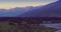 Aerial Shot Makaroa, Mount Aspiring National Park, New Zealand Stock Footage