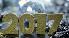New year decoration. Closeup on golden 2017 Stock Footage