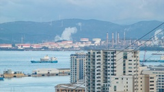 Gibraltar View to Refineries at Puente Mayorga Spain Stock Footage