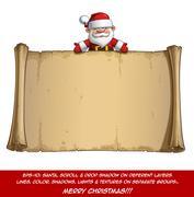 Happy Santa Scroll - Empty Label Open Hands Stock Illustration