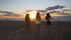 Euphoric girls running towards the sea and getting their feet into the wate.. Stock Footage