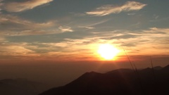 Fiery sunset from mountain pick. Orobie alps. Rena pick. Bergamo Italy. Stock Footage