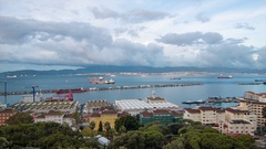 Bay of Gibraltar Panoramic Landscape Stock Footage