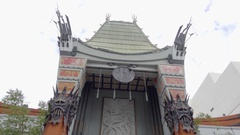 Chinese Theater exterior front tilting down to people and tourists in Hollywood Stock Footage