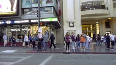 Driving Hollywood Blvd Hard Rock Cafe on Walk of Fame in Los Angeles California Stock Footage