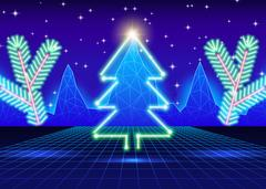 Christmas card with 80s neon tree Stock Illustration