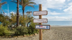 Southern Spain Tourism Beach Signage Stock Footage