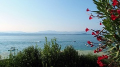 Garda lake view from Sirmione Italy Stock Footage