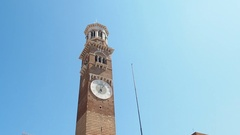 Lamberti Tower in Piazza delle Erbe panoramic Stock Footage
