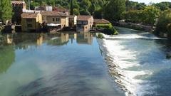 View of Borghetto di Valeggio sul Mincio, Verona Italy from visconteo bridge Stock Footage