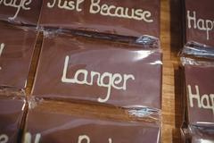 Close-up of packed chocolate plaque in display Stock Photos