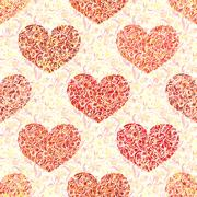 Hand drawn hearts. Seamless pattern. Use it as pattern fills. Adult coloring Stock Illustration