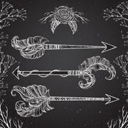 Collection of arrows with tribal indian ornament in boho style Stock Illustration
