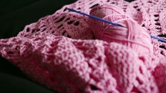 Hobby and lifestyle: Crochet, making artificial flowers and decor Stock Footage
