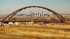 Denver Skyline Transit Train Bridge Colorado Landscape Highway Stock Footage