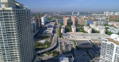 Aerial video westward over Sunny Isles Beach Blvd Stock Footage