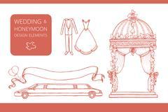 Design elements for wedding and honeymoon Stock Illustration