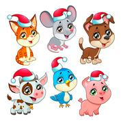 Funny Christmas farm animals Stock Illustration