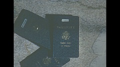 Vintage 16mm film, passports the end title, concept Stock Footage