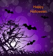 Halloween Night Background with Bats Piirros