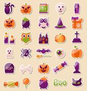 Set of Halloween Flat Icons, Scrapbook Elements Stock Illustration