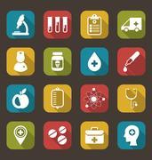 Trendy Flat Icons of Medical Elements Stock Illustration