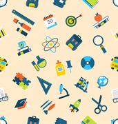 Seamless Texture with of Education Icons Stock Illustration