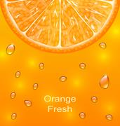 Orange Background with Slice and Drops Stock Illustration