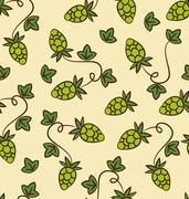 Seamless Pattern Hops Plans for Beer Stock Illustration