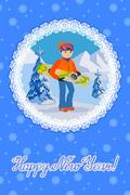 Smiling snowboarder man in winter ski sportswear, helmet and goggles standing Stock Illustration