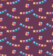 Seamless Funny Texture with Colorful Buntings for Holiday Stock Illustration