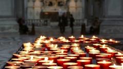 Prayer Candles In Santa Maria della Salute Stock Footage
