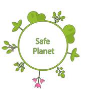 Frame form circle green earth plant flower cry safe planet Stock Illustration