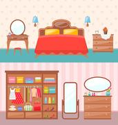 Flat design bedroom interior. Vector illustration. Modern furniture, bunk b.. Stock Illustration