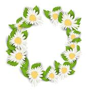 Round Frame Made in Chamomile Flowers Stock Illustration