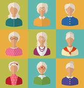 Old People of Faces of Women of Grey-headed Stock Illustration