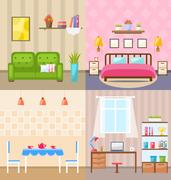 Set Room Interiors with Furniture Flat Icons Piirros
