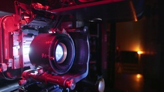 Dolly Across 70mm Film Projector Wide Angle Stock Footage