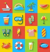 Flat icons of holiday journey, summer symbols, sea leisure, colorful minima.. Stock Illustration