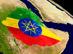 Ethiopia with flag on Earth Stock Illustration