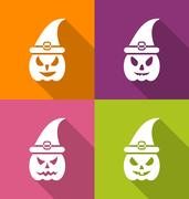 Halloween Carving Paper Pumpkins with Hats Stock Illustration