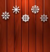 Wooden Background with Variation Snowflakes Stock Illustration
