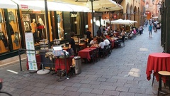 Via caprarie downtown street Bologna italy Stock Footage