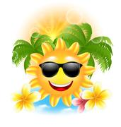 Summer Funny Background with Happy Smiling Sun, Palms, Flowers Frangipani Stock Illustration