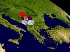 Serbia with flag on Earth Stock Illustration
