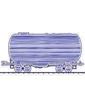 Illustration petroleum cistern wagon freight railroad train, hand drawing i.. Stock Illustration