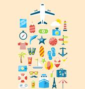 Flat modern design set icons of travel on holiday journey, tourism objects .. Piirros