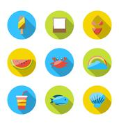 Symbols of planning summer vacation, tourism and journey objects, flat colo.. Stock Illustration
