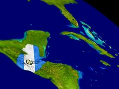 Guatemala with flag on Earth Stock Illustration